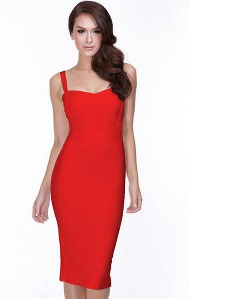 2018 Nuevo Vestido de Vendaje para Mujer Vestido de Fiesta Bodycon Rojo Negro Azul Blanco Rosa Amarillo Sexy Celebrity Backless Dress Envío de la gota