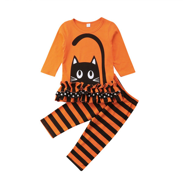 pudcoco 1-6T Cute cat print Baby Girl Clothes set autumn Outfits 2PCS long sleeve T-shirt+striped Pants Toddler Clothing set