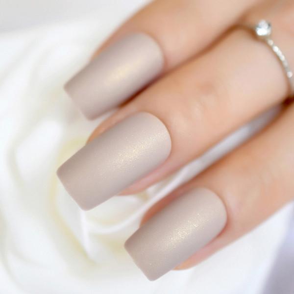 Shimmer Glitter Light Rosy Brown Fake False Nails Matte Design Kit ...