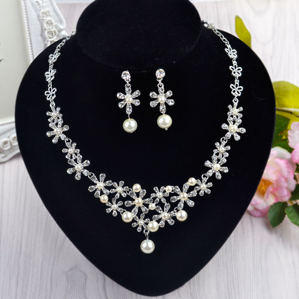 New Product Bride Jewelry Earrings Necklace Two Part Head Zirconium Shi Zhenzhu Ornaments Marry Wedding Dress Photograph Accessories Product