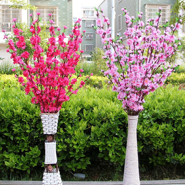 New Artificial Cherry Spring Plum Peach Blossom Branch Silk Flower Tree Branch Wedding Party Decoration Floor Flower Living Room Decoration