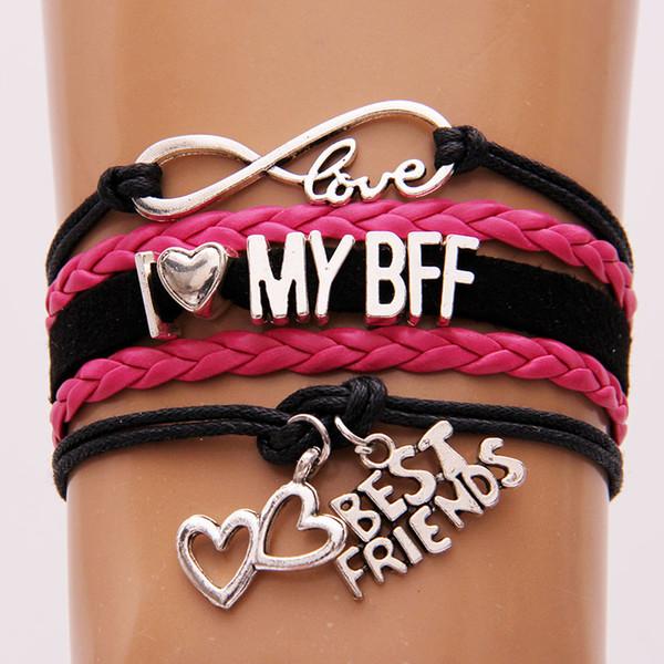 NCRHGL бесконечность любовь Я люблю мой BFF браслеты браслеты лучшие друзья Шарм плетеный браслет ювелирные изделия для женщин мужчин Новый Drop доставка