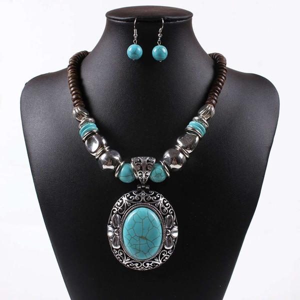 Turquesa conjunto de jóias de prata antigo brincos mulheres colar Bohemia oco coco natural shell jóias liga frisada frete grátis