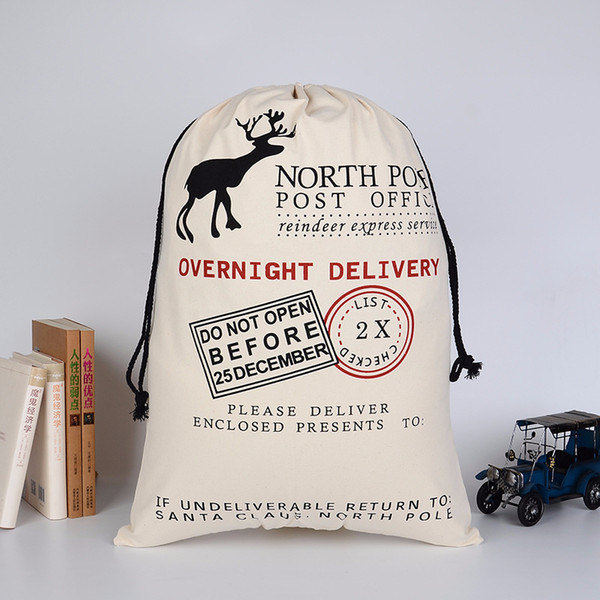 2018 Bolsas de regalo de Navidad Bolsa de lona pesada y orgánica grande Bolsa de lazo de saco de Santa con renos Bolsas de saco de Papá Noel para niños Envío gratis