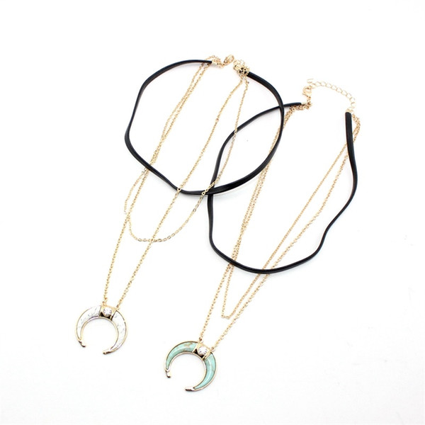 BOHO Multilayer Crescent Turquoise Natural Stone Pendant Necklace Druzy Quartz Crystal Gold Plated Choker Necklace Geometric Jewelry