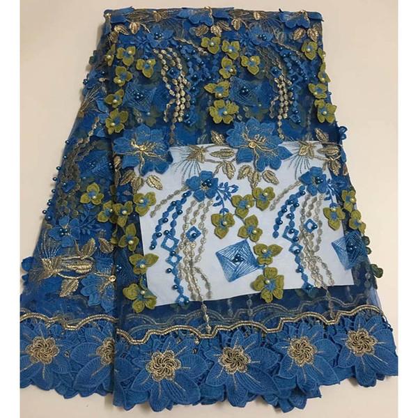 GÜZEL 5 Yard Kraliyet mavi afrika dantel kumaş ile 3D nakış çiçek Moda Boncuklu fransız Gelin tül dantel kumaş