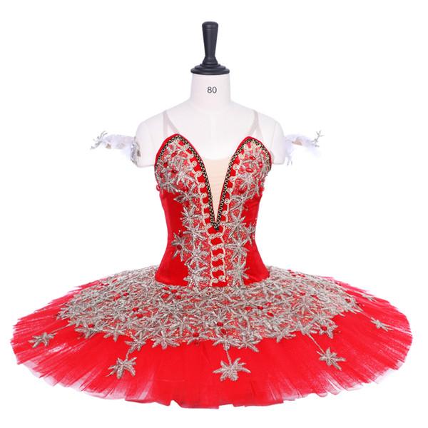 Adulto rojo Profesional Ballet Tutu Oro Verde Panqueque Peformance Tutus mujeres azúcar ciruela hada cometiton trajes de la etapa tutú