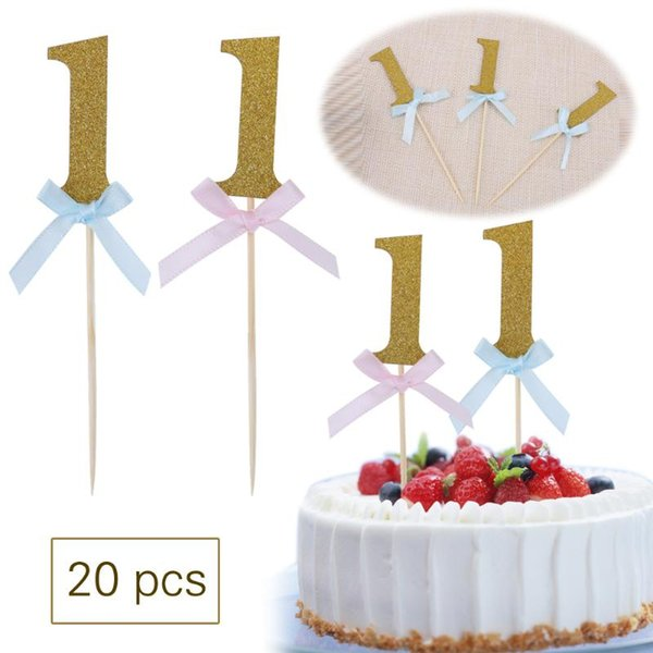 20pcs Glitter Number 1 Happy First Birthday Cupcake Toppers 1st Baby Boy Girl The Cake Decoration Tools