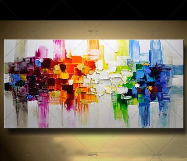 Il più nuovo paesaggio moderno astratto fatto a mano variopinto astratto di stile pittura a olio spessa su tela per l'arte decorativa domestica della parete