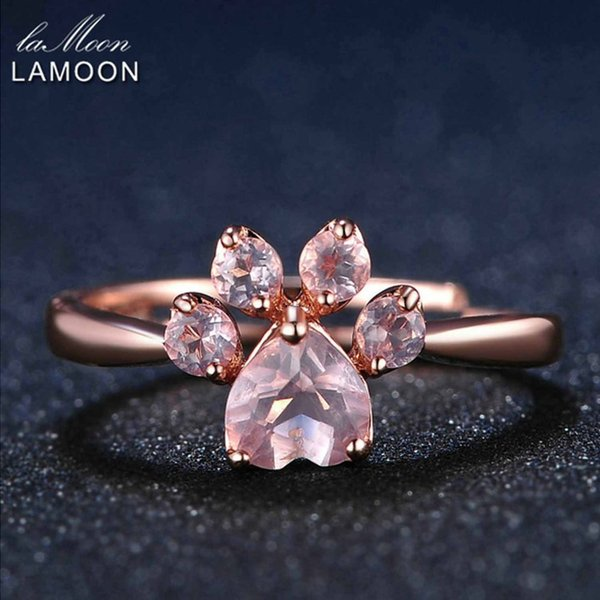 LAMOON Fine Jewelry Women Body Rings Adjustable Animal Paw 5mm 925 Sterling Silver Romantic 100% Natural Pink Rose Quartz Ring Y1892705