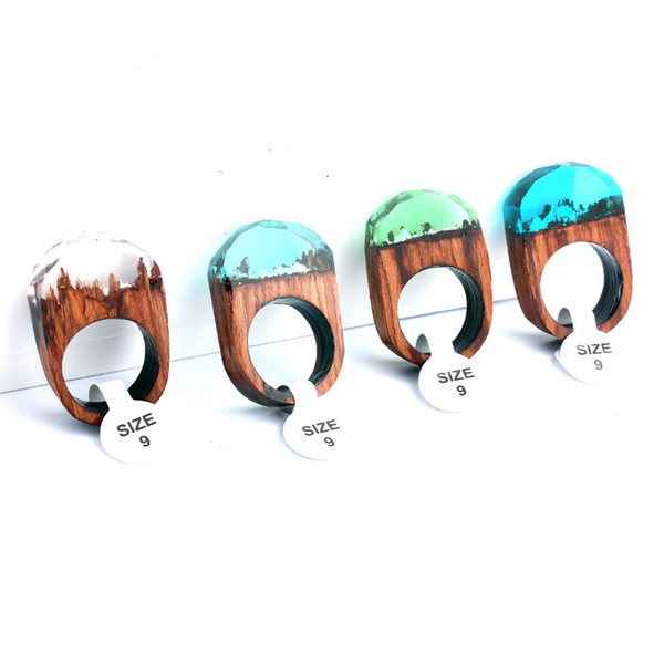 Secret Forest scenery Resin Rings Wood wooden Rings Crystal Band Rings 4 colors handmade Fashion amber Jewelry for Women Gift