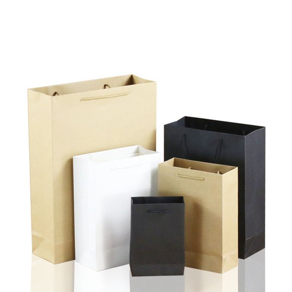 10pcs / lot White Brown Kraft Paper Bag Gift Bag With Handles Recyclable Shop Store Packaging Environment Friendly Material