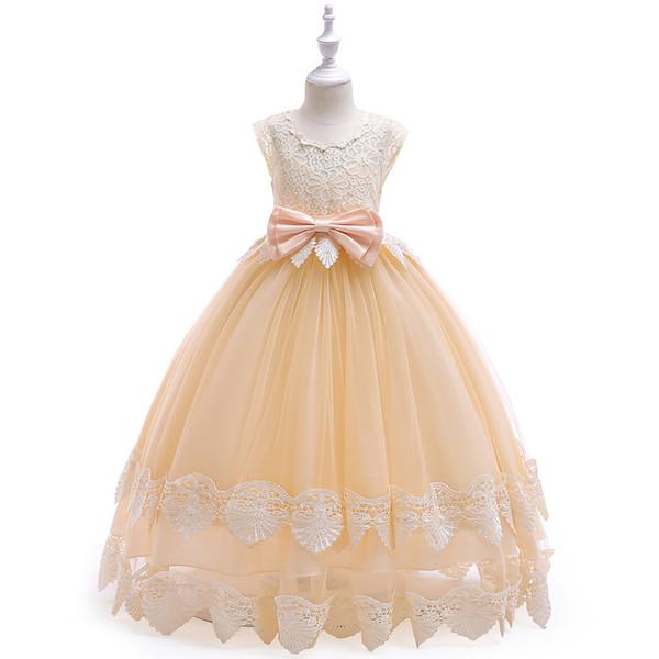 Charming Long Children Wedding Party Dress Gioiello Pizzo Tulle Bowknot Una linea Fiore Vestito da ragazza Per bambini Abiti da sera da cerimonia Ragazza Abiti da spettacolo