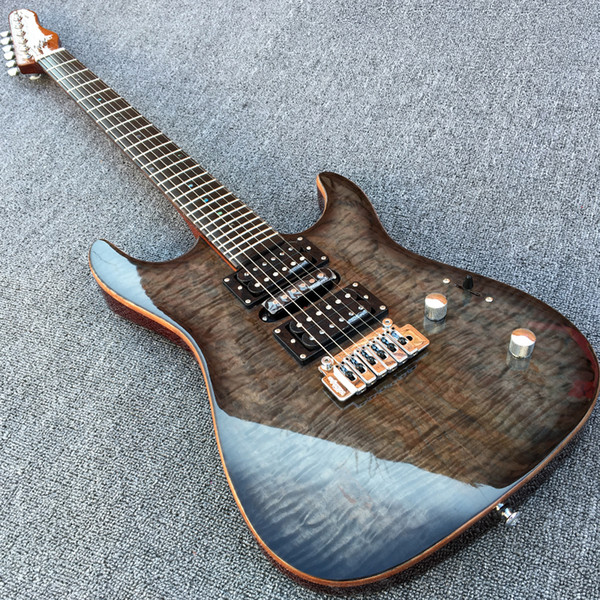 Grote Koa Top Guitarra eléctrica personalizada con Wilkinson Pickup Bridge Sintonizadores de bloqueo Abalone Dot Inlays Acabado brillante Guitarra