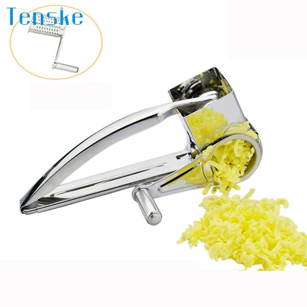 TENSKE Cheese Grater Rotory with Container Stainless Steel Hand-Crank Rotary Shredder Tool u70320 DROP SHIP New