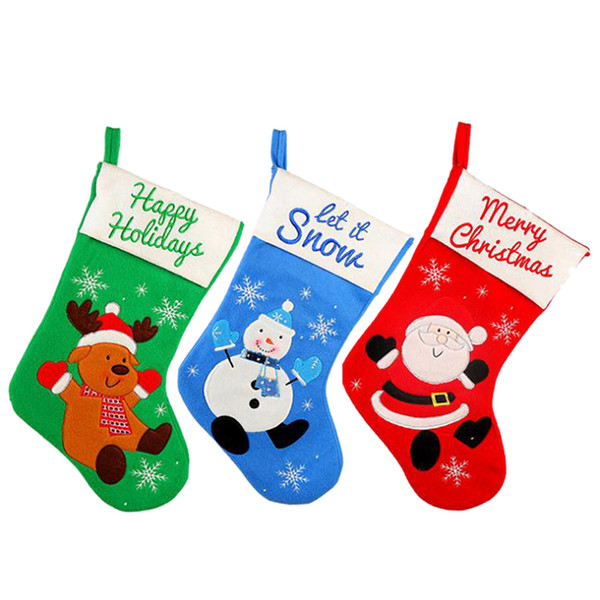Christmas Stockings Socks Santa Claus/Snowman/Elk Big Size Candy Gift Bag Xmas Tree Decor Festival Party Ornament