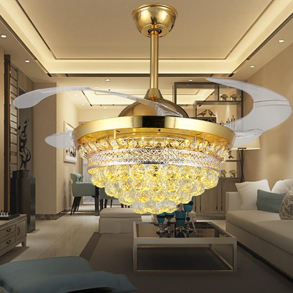 Großhandel 42 Zoll Moderne Kristall Gold Unsichtbarer Deckenventilator  Schlafzimmer Esszimmer Wohnzimmer Fan Licht 110 V Leise Fernbedienung ...