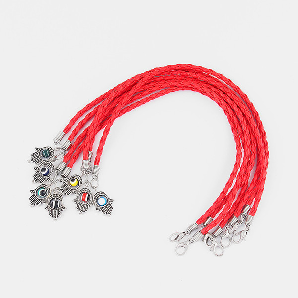 10pcs Handmade Charms Hamsa Hand Eyes Palm Braid Weaved Red Pu Leather Cord Lucky Friendship Surfer Bracelet Jewelry 7.5inch