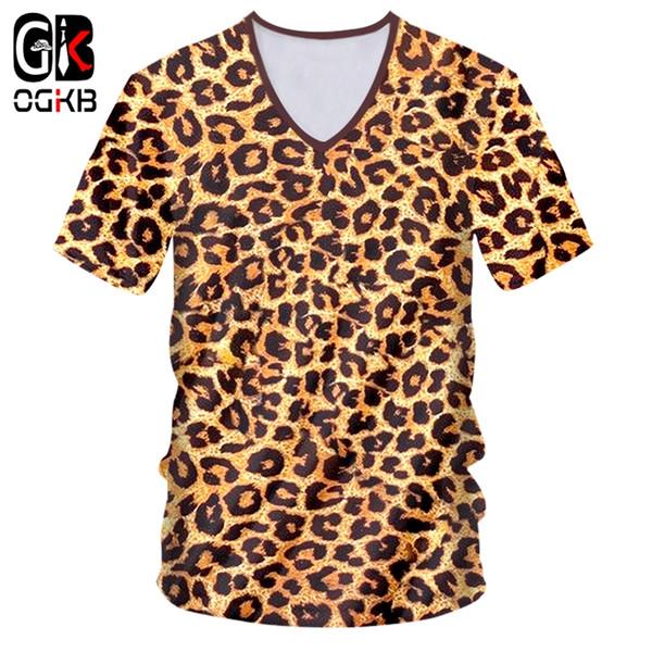 OGKB T Shirts Mann neue V-Ausschnitt Kurzarm Runde Dot 3D T-Shirt Drucken Lepopard Streetwear 6XL Kostüm Unisex T-Shirt