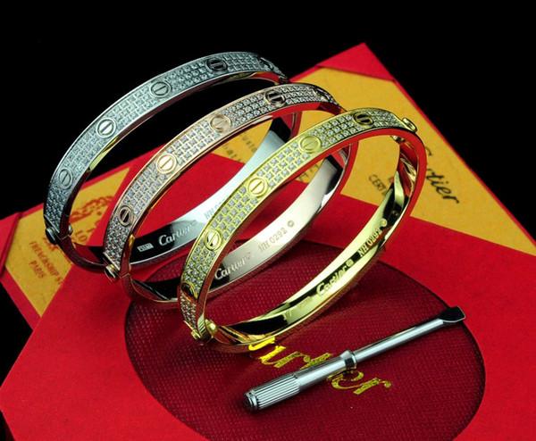 Luxury Top Quality Celebrity design Fashion Letter Metal Buckle Screws diamond bracelet Metal Cuff bracelet Silver Jewelry With Box