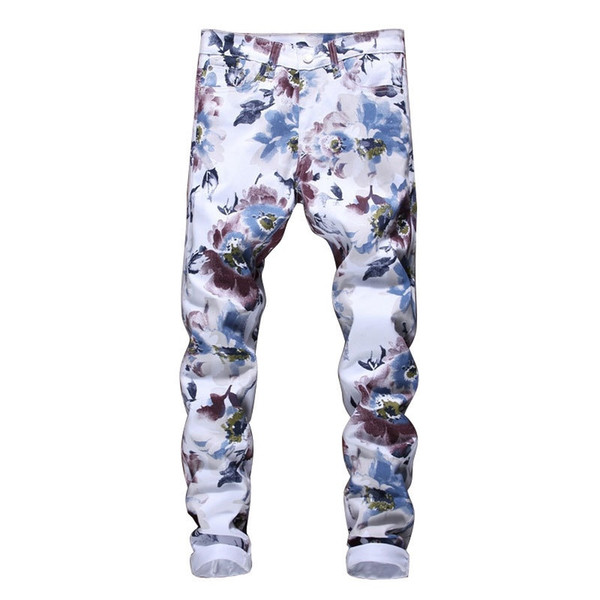 2018 New Fashion Brand jeans man Korean style 3D Color printing design fashion nightclubs singers jeans men 5009#