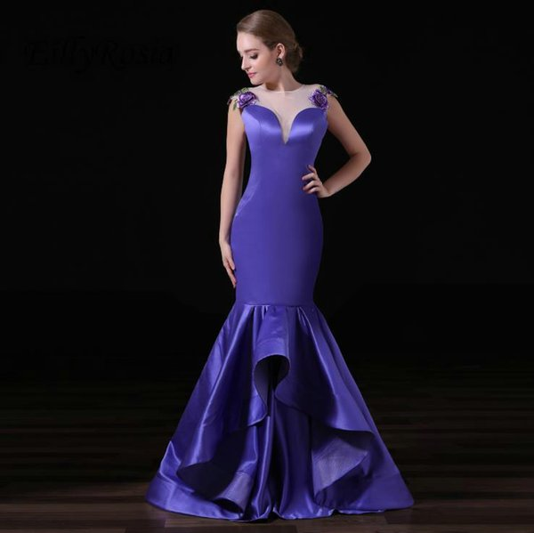 Purple Mermaid Evening Dresses for Women Embroidery Ruffles Satin Real Photos Long Elegant Prom Dinner Party Gowns for Special Occasions