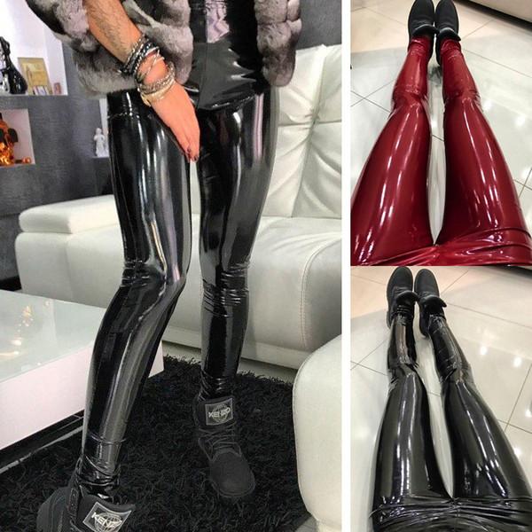 Seksi Rahat Kadınlar Bayanlar Moda PU Deri Siyah Kırmızı Ince Parlak Sıska Elastik Bel Yüksek Bel Tayt Pantolon Artı Boyutu S-XXXL