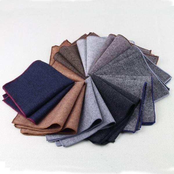 10PCS di alta qualità Hankerchief Sciarpe Hankies lana Vintage Men S Pochette Fazzoletti righe in cotone solido 23 * 23cm