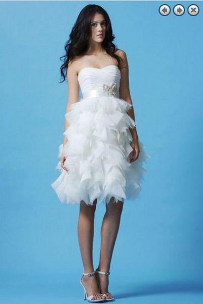 freies Verschiffen alibaba China vestidos formales neue Art und Weise Knielänge Partei weiße Brautmädchen Hochzeitskleider abnehmbarer Gurt