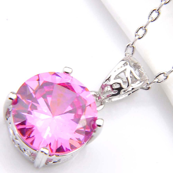 10Pcs Luckyshine Excellent Shine Circular Fire Pink Topaz Cubic Zirconia Gemstone Silver Pendants Necklaces for Holiday Wedding Party