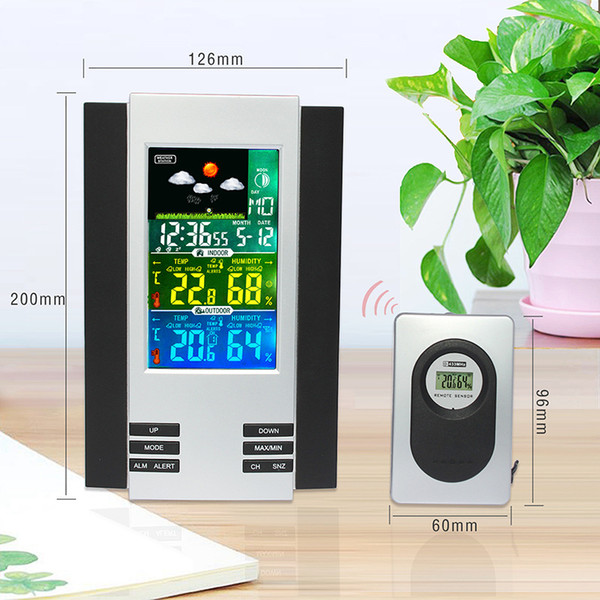 Wireless Weather Station Digital Alarm Clock with calendar Indoor Outdoor Thermometer Hygrometer Weather Forecast With Moon Phase H126G
