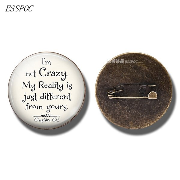 I'm Not Crazy Cheshire Cat Quote Jewelry Glass Cabochon Brooch AlIn Wonderland Clothing Accessories