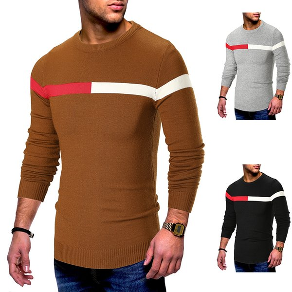 Men Pullover Sweater Long Sleeve Knitwear 2018 Winter Fashion Geometric Knitted Cotton Jersey Casual Stripe Top Clothes Black
