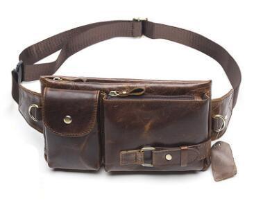 Men Genuine Leather Cowhide Vintage Travel Riding Motorcycle Hip Bum Belt Pouch Fanny Pack Waist Purse Clutch Bag