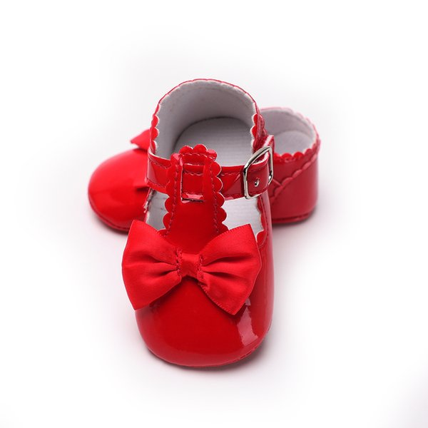 Princess First Walkers Baby Booties Solid Pretty Bowknot Babies Shoes For Baby Girl Footwear Foe Newborns PU Leather 6 Color