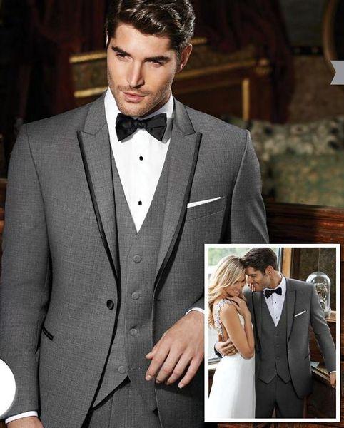 Classic Design One Button Grey Groom Tuxedos Peak Lapel Groomsmen Mens Wedding Suits Excellent Man 3 Piece Suits(Jacket+Pants+Vest+Tie) 89