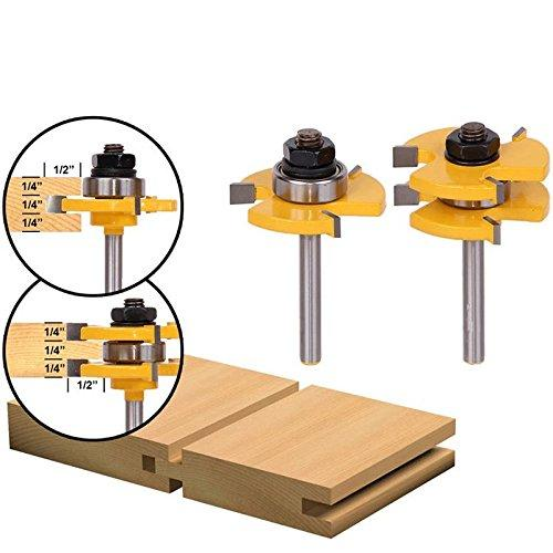 """2Pcs Tongue and Groove Router Bit, Grooving Router Bit, 3 Teeth T Shape, 1/4"""""""" Shank Wood Milling Saw Cutter New Woodworking Tools"""