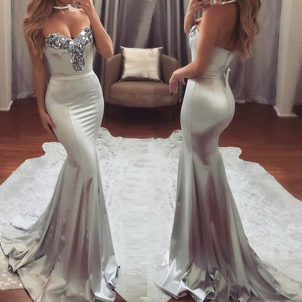 best selling Sexy Women Strapless Sequins Formal Summer Dress Wedding Bridesmaid Long Maxi Mermaid Dress Formal Party Ball Prom Gown Dresses