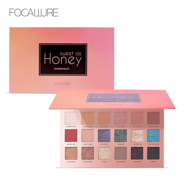 Focallure Makeup Glitter Eyeshadow 18 Colors Pigment Eye Shadow Palette Waterproof Easy to Wear Shimmer Make up Kit