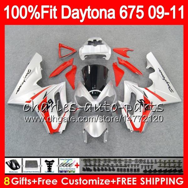 Injection For Triumph Bodywork Daytona 675 2009 2010 2011 2012 107HM.58 Daytona 675 Red silvery 09 10 11 12 Daytona-675 Daytona675 Fairing