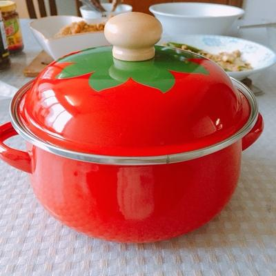 18cm Tomato porcelain enamel soup pot 1.5L Slow cooker with lid fit gas stove Electric ceramic heaters Cold rolled steel plate 13.5x21.5cm