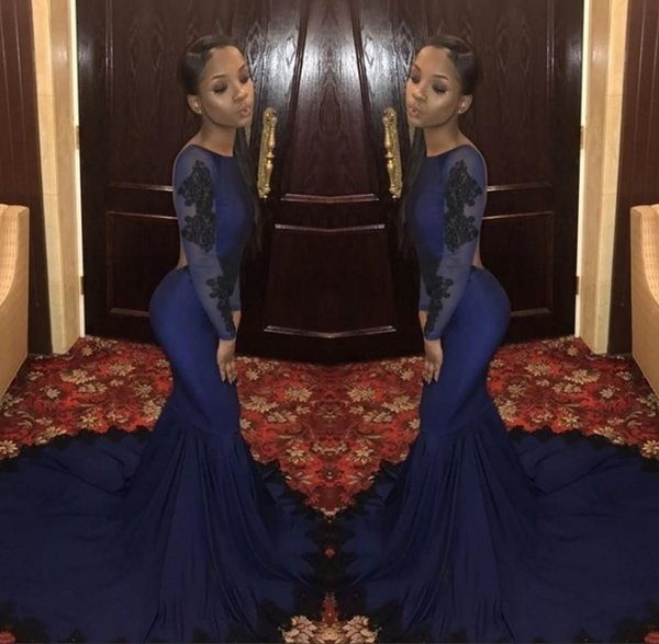 Afrika Mermaid Gelinlik Modelleri 2019 Dantel Tekne Boyun Çizgisi Abiye giyim Tül Aplikler Aç Geri Uzun Kollu Zarif Fantezi Pageant Elbise