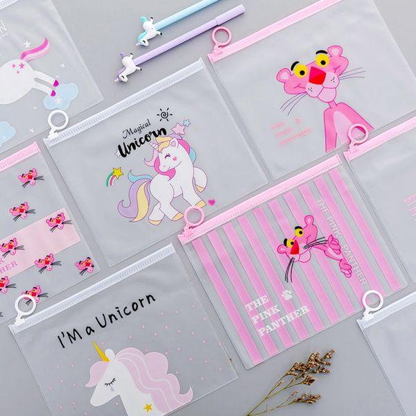 Storage Bag Cute Pink Panther Unicorn Pencil Case Bts Cartoon Transparent PVC Makeup Organize Home Office Organization Supplies