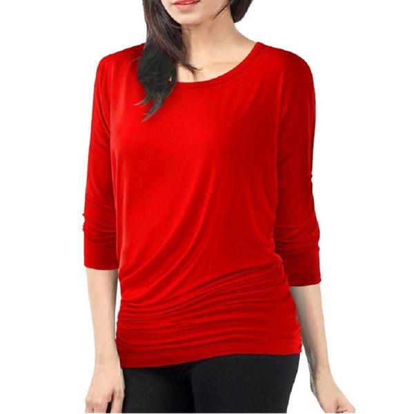 9b3f2c18341 Fashion Women T-Shirt Loose Long Sleeve Batwing Dolman Tunic Tops Tshirt  Black Red Plus Size S-3XL