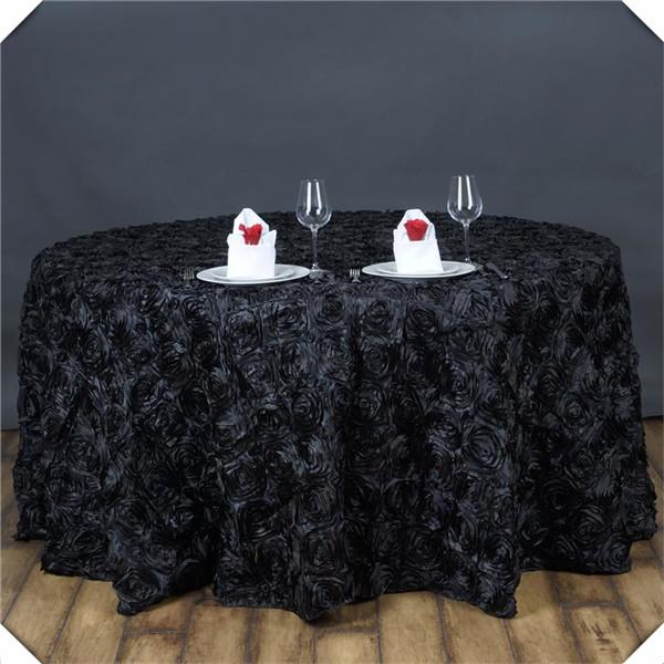 Free shipping 3D Satin Rosette table cloths/Black color Encryption Rose Banquet table cover tablecloths/108inch round spread