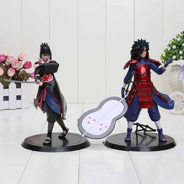 2 unids / set 17 cm Naruto Uchiha Madara Sasuke Pvc figuras de acción juguetes modelo