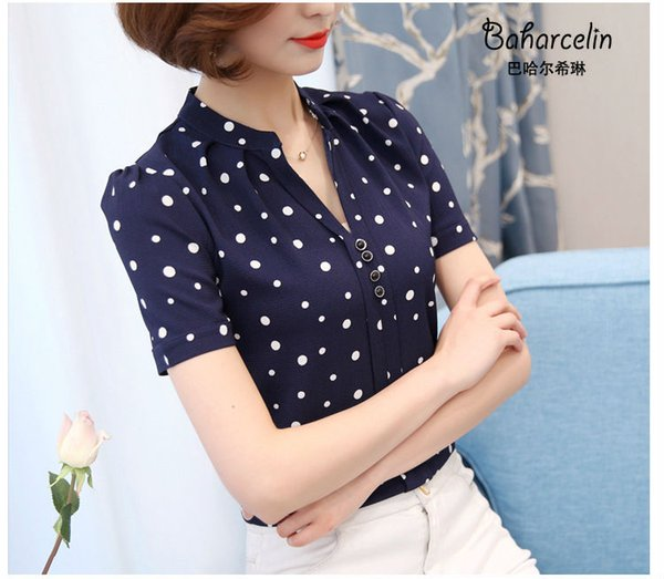 Baharcelin Frau Junge Mädchen Sommer V-Ausschnitt gedruckt gestreiften Polka Dot Chiffon Bluse Shirt Kurzarm Bluse Tops für Büro