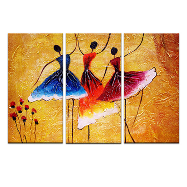 3 Panles Abstrato Espanhol Dança Pinturas Impressão Da Arte Da Parede Da Lona Imagem Pintura para Decoração de Casa Moderna com Emoldurado Pronto para Pendurar