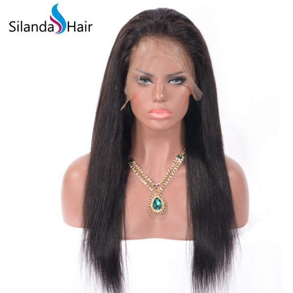 Silanda Hair Premium Hot Selling Natural Color #1B Straight Brazilian Remy Human Hair Lace Front Full Lace Wig For Women Free Shipping