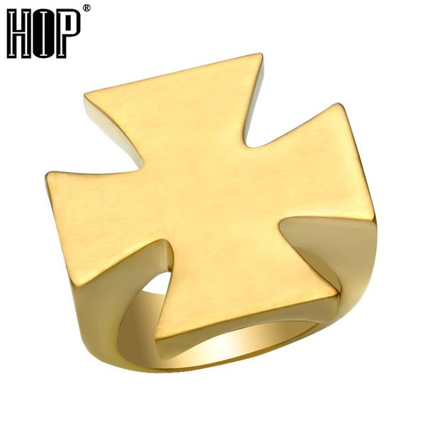 Hip Hop Gold Silver Color Titanium Stainless steel Mens Ring Pattee Cross Rings for Men jewelry